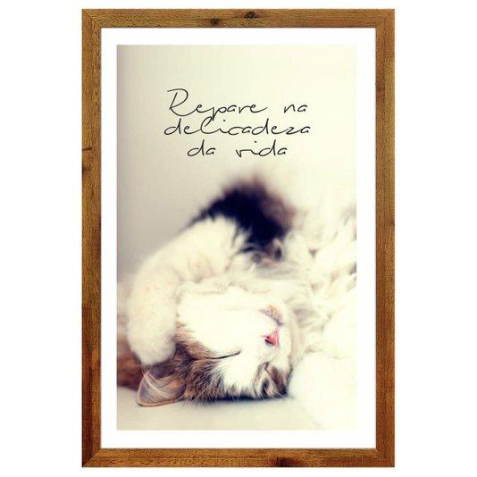 Quadro Pet Decorativo com Moldura Rústica Gato e Frase Repare na Delicadeza da Vida 40x60cm