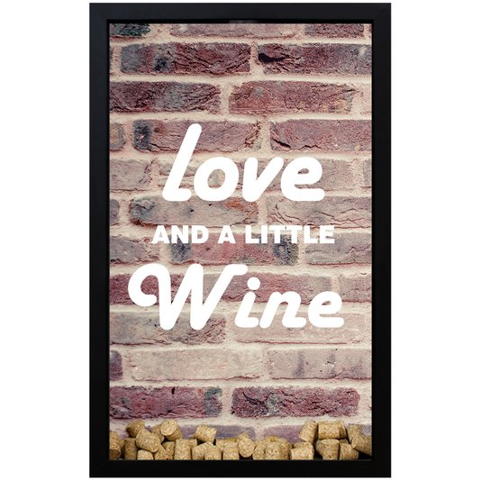 Quadro Porta Rolhas Brick Love And A Little Wine 30x40 cm