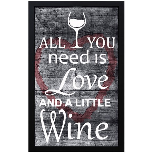 Quadro Porta Rolhas Love - All You Need Is Love And A Little Wine 28x43x5cm