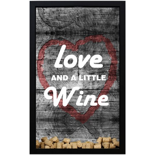 Quadro Porta Rolhas Love And A Little Wine 28x43x5cm