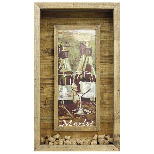 Quadro Porta Rolhas Vinhos Merlot 40x70cm