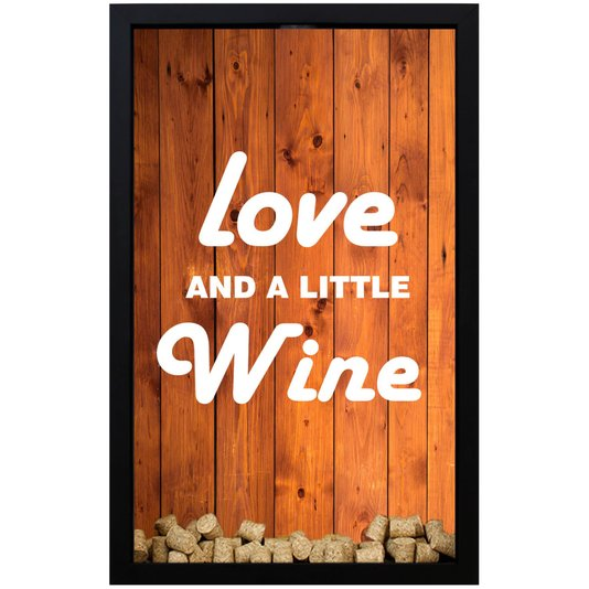 Quadro Porta Rolhas Wood Love And a Little Wine 28x43x5cm