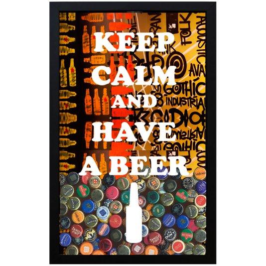 Quadro Porta Tampinhas Arte Keep Calm And Have A Beer 28x43x5cm