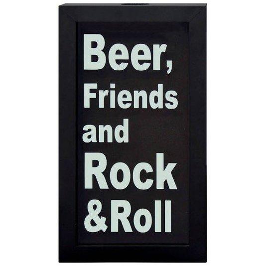 Quadro Porta Tampinhas Cerveja Beer Friends and Rock & Roll