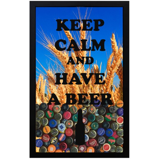 Quadro Porta Tampinhas Cevada Keep Calm And Have A Beer 28x43x5cm