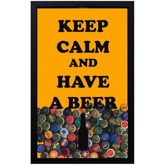 Quadro Porta Tampinhas Fundo Amarelo Keep Calm And Have A Beer  28x43x5cm