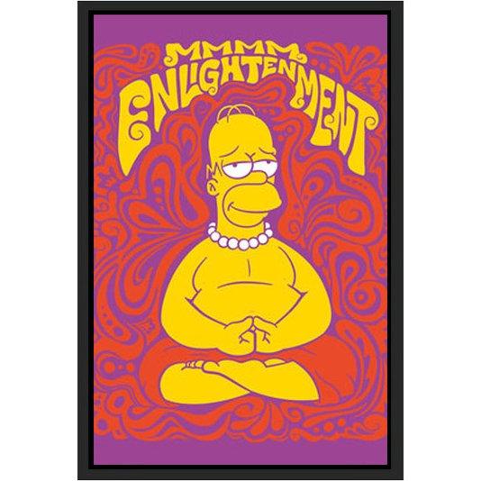 Quadro Poster com Moldura Homer Simpsom Meditando 60x90cm