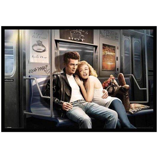 Quadro Poster com Moldura Ídolos James Dean e Marilyn Monroe no Metrô 94x64cm