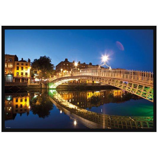 Quadro Poster com Moldura Paisagem Ponte a Noite com Reflexo na Água 94x64cm