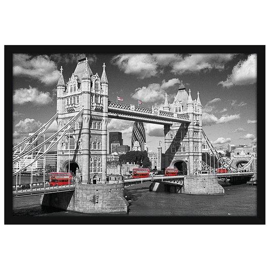 Quadro Poster com Moldura Tower Bridge com Ônibus Vermelhos em Destaque 94x64cm