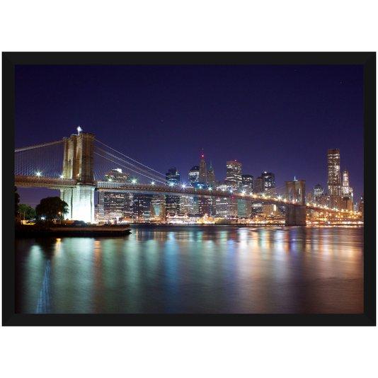 Quadro Imagem Ponte Brooklyn II Nova York Noite 140x100cm