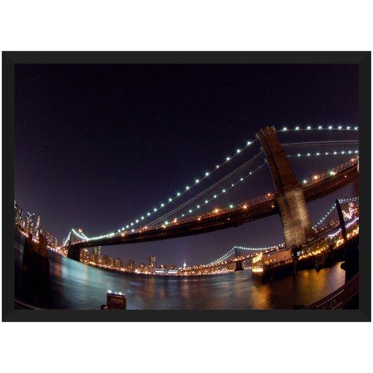 Quadro Poster Ponte Brooklyn Nova York Noite 140x100cm