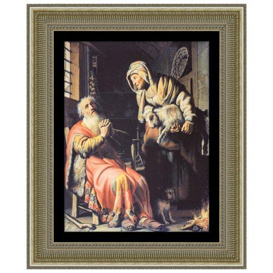 Quadro Reprodução de Obra de Arte em Papel por Rembrandt 80x100cm
