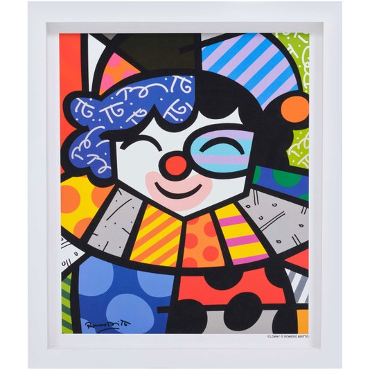 Quadro Romero Britto Clown 35x45cm com Moldura Branca