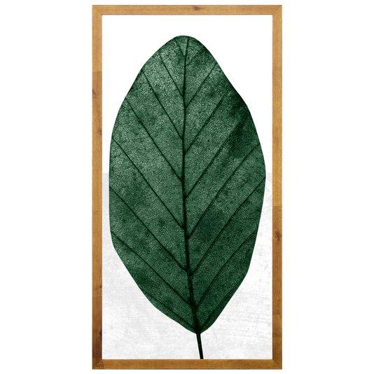 Quadro Rústico Decorativo Folha Verde 50x100cm