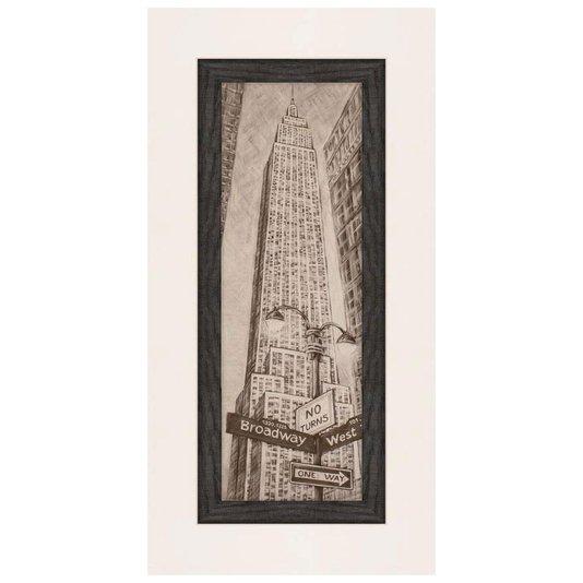 Quadro Rústico Decorativo New York Empire State Building 50x110cm