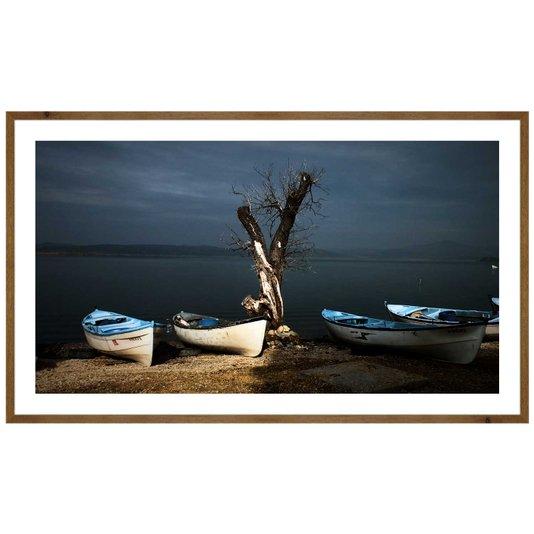 Quadro Rústico Paisagem Barcos com Detalhes Azuis 120x70 cm