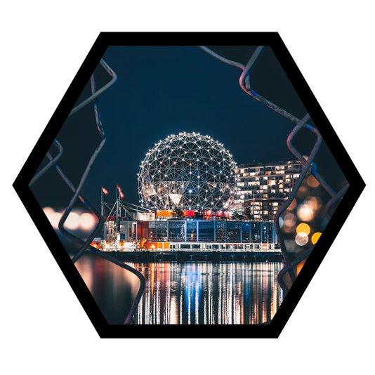 Quadro Sextavado Hexagonal Centro de Ciências Vancouver 50x43cm