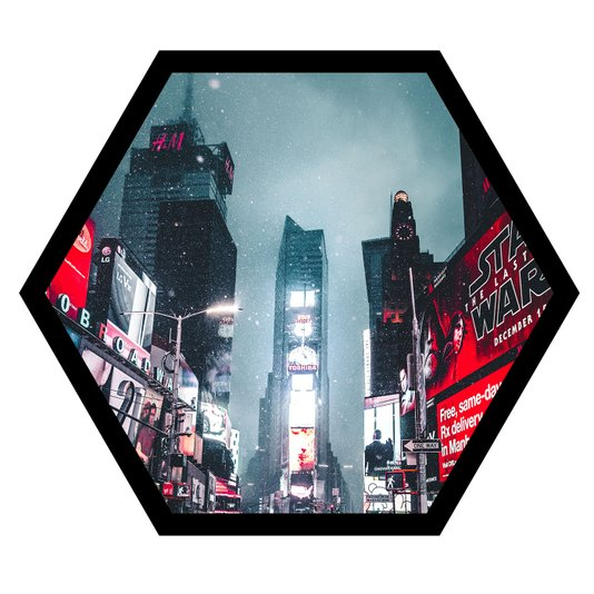 Quadro Sextavado Hexagonal Times Square New York 50x43cm