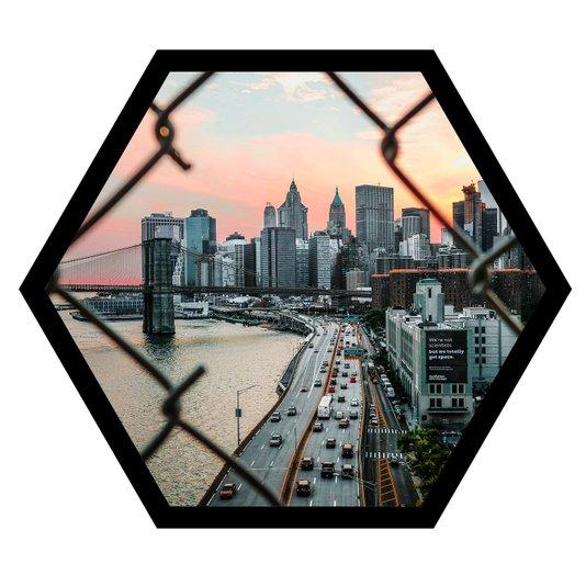 Quadro Hexagonal Sextavado Vista Para a Ponte do Brooklyn 50x43cm
