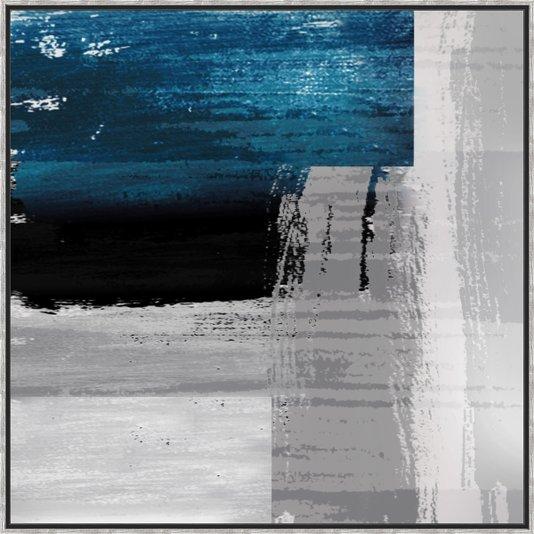 Quadro Tela Canvas Arte Abstrata com Moldura Prata 120x120cm