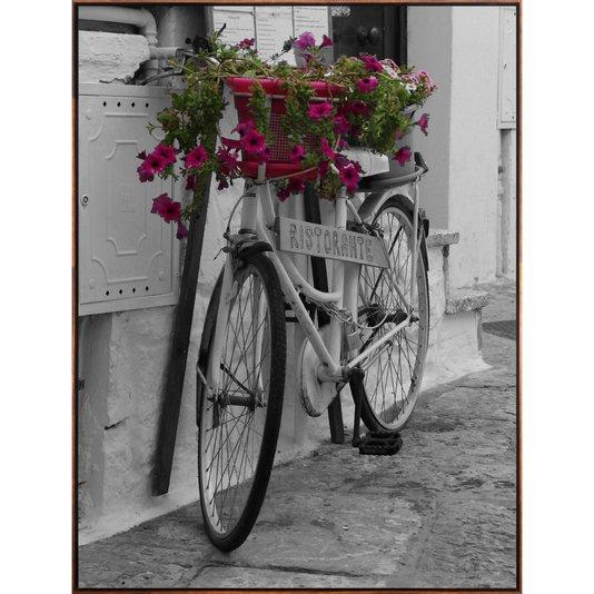 Quadro Tela Canvas Bicicleta em Preto e Branco Flores Coloridas 90x120 cm