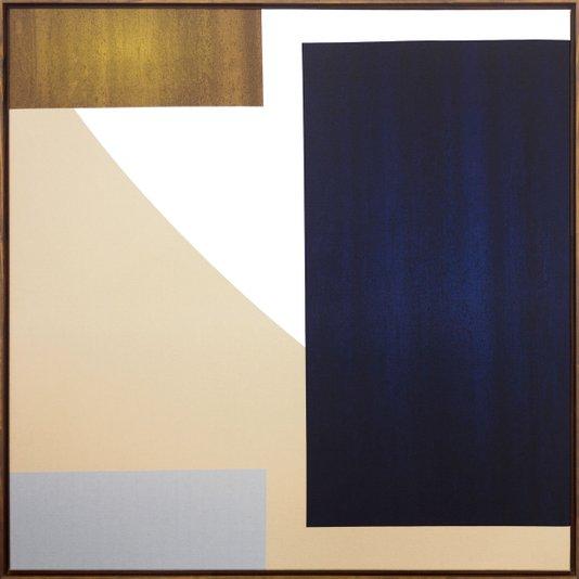 Quadro Tela Canvas com Moldura Arte Geométrica Abstrata Retângulos 90x90cm