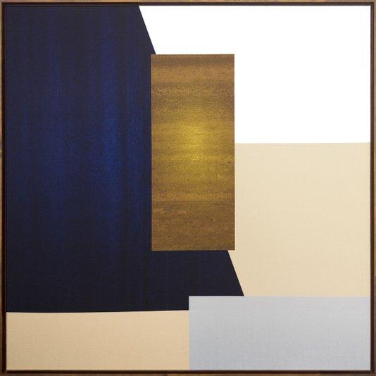 Quadro Arte Geométrica Retângulos Tela Canvas com Moldura 90x90cm