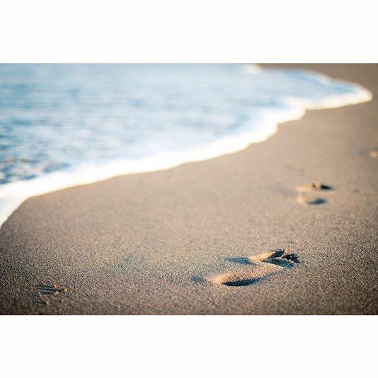 Quadro Tela Canvas Paisagem Praia Pegadas na Areia 225x148cm