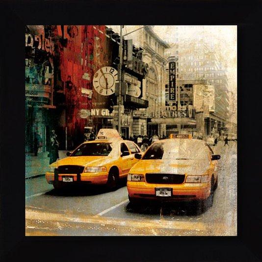 Quadro Tela com Moldura Preta Táxis Amarelos Nova York 75x75 cm