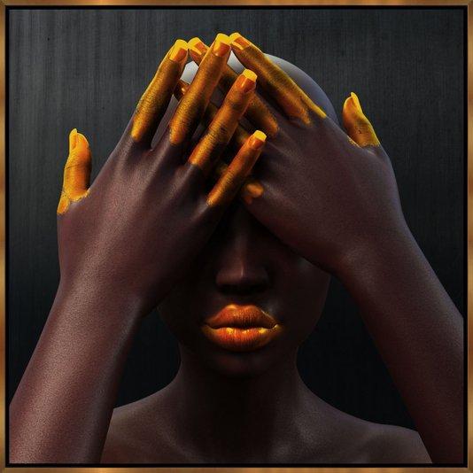 Quadro Tela com Moldura Série Mulheres Africanas 100x100 cm