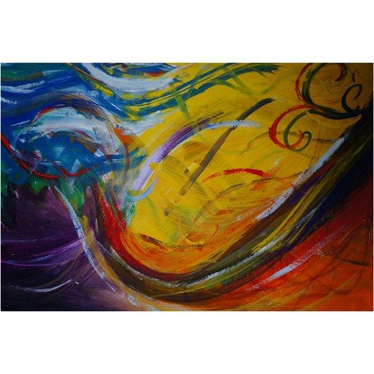Quadro Tela Decorativa Abstrata Colorida 120x80cm