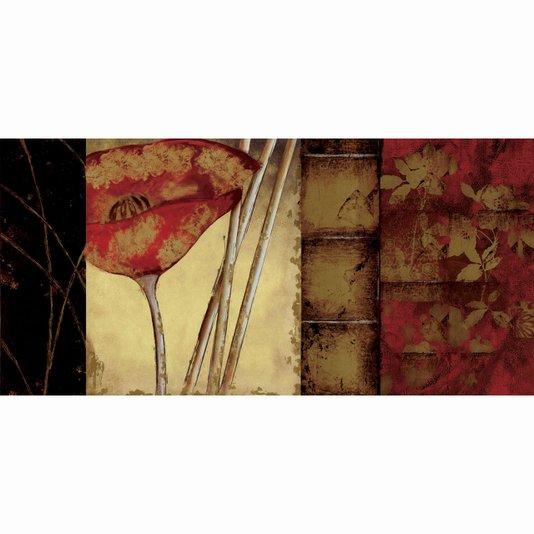 Quadro Tela Decorativa Abstrata Floral Papoula Vermelha 120x60cm