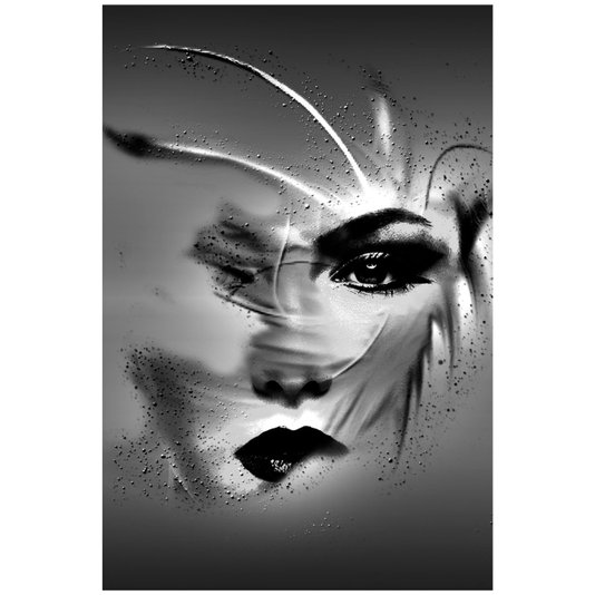 Quadro Tela Decorativa Abstrata Impressa em Preto e Branco Mulher 60x90cm