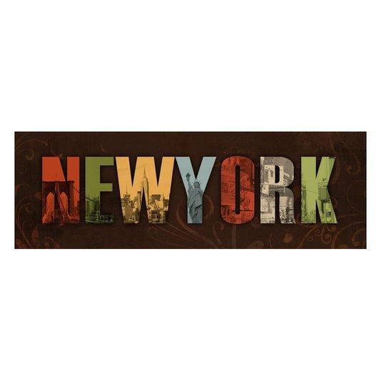 Quadro Tela Decorativa com Escrita NEW YORK 90x30cm