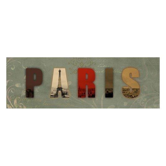 Quadro Tela Decorativa com Escrita PARIS 90x30cm