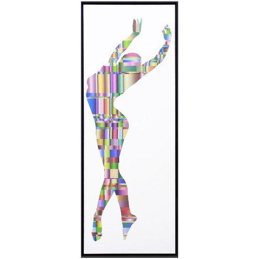Quadro Tela Decorativa com Moldura Bailarina Colorida 40x120cm