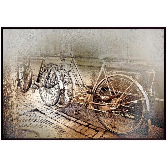 Quadro Tela Decorativa com Moldura Marrom Bicicletas 150x100cm