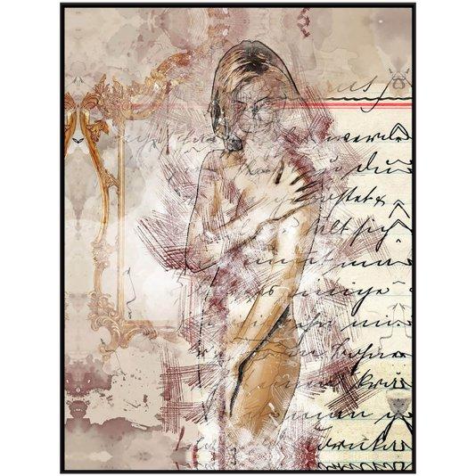 Quadro Tela Decorativa com Moldura Mulher Abstrata Nu Artístico 125x165cm