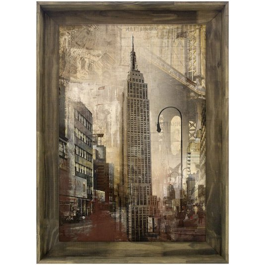 Quadro Tela Decorativa com Moldura Rústica Empire State Building de Nova York 80x110cm