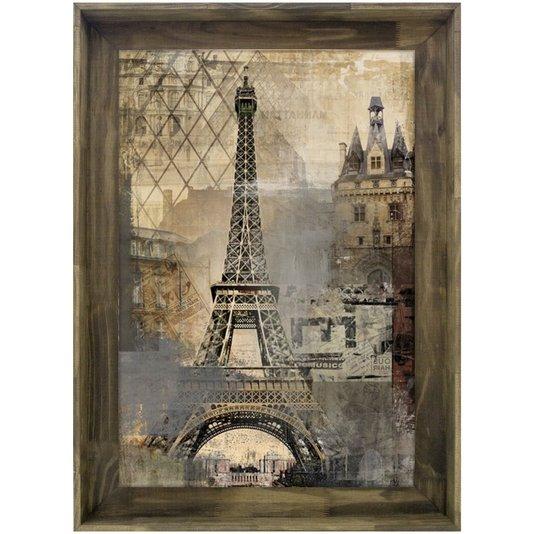 Quadro Tela Decorativa com Moldura Rústica Torre Eiffel Paris 78x108cm