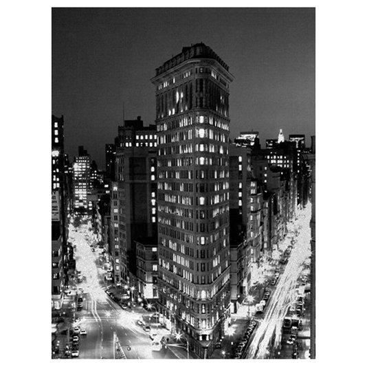 Quadro Tela Decorativa em Preto e Branco Impressão Digital em Tela Flatiron Building 90x120cm