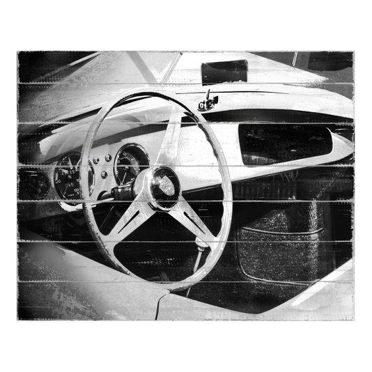 Quadro Tela Decorativa em Preto e Branco Interior Lamborghini Antiga 50x40cm