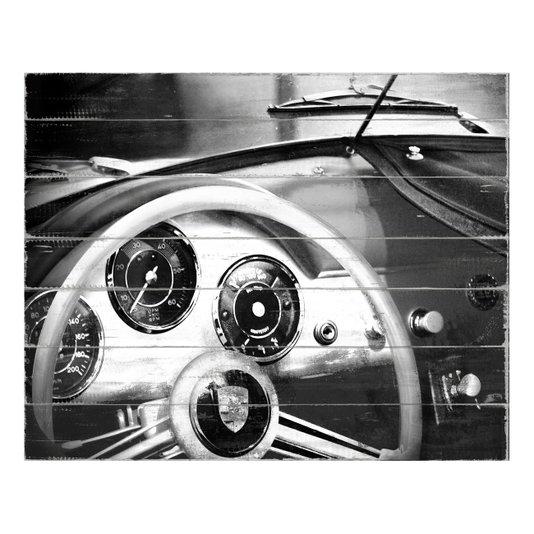 Quadro Tela Decorativa em Preto e Branco Lamborghini Antiga 50x40cm