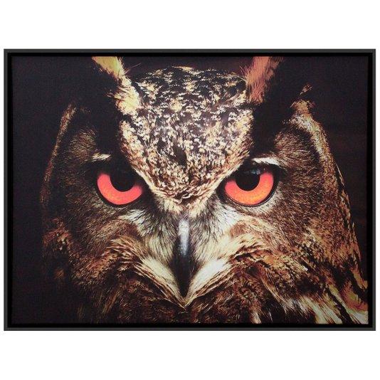 Quadro Tela Decorativa Emoldurada Coruja de Olhos Vermelhos 80x60cm