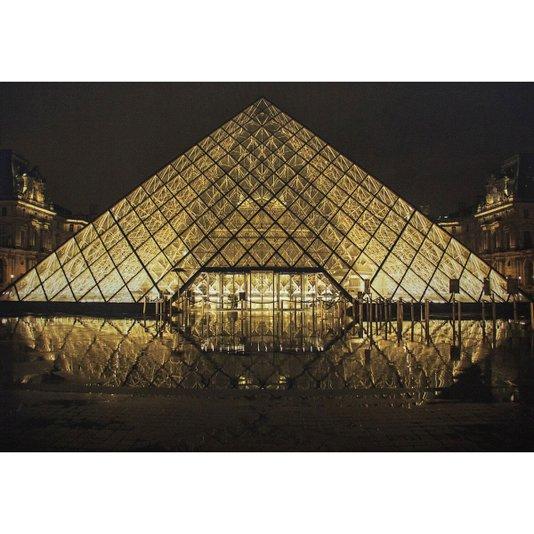 Quadro Tela Decorativa Impressa Museu do Louvre em Paris na França 100x70cm