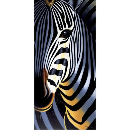 Quadro Tela Decorativa Impressão Digital em Tela  Zebra 30x60cm