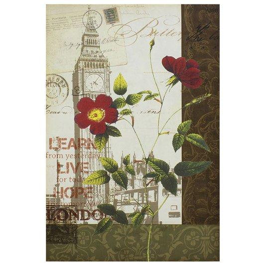 Quadro Tela Decorativa London Floral 60x90cm