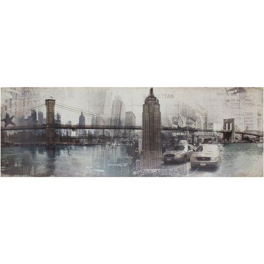 Quadro Tela Decorativa Nova York Pontos Turísticos 150x50cm