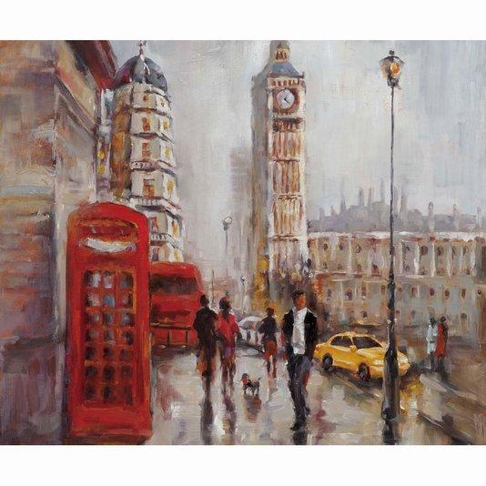 Quadro Tela Decorativa Pintura de Londres Torre Big Ben 120x100cm